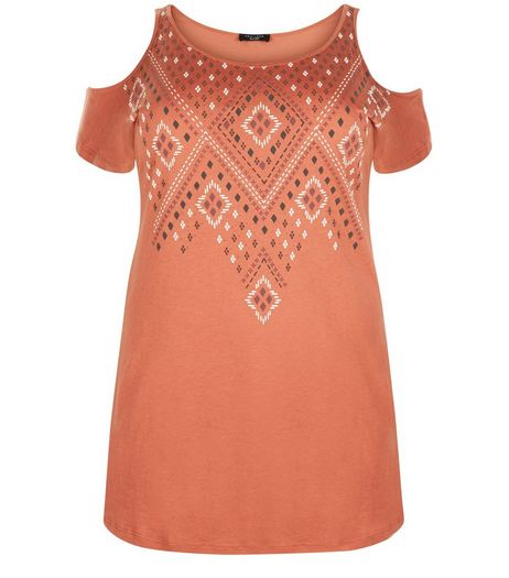 Curves Orange Abstract Print Cold Shoulder Top | New Look