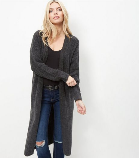 JDY Dark Grey Longline Cardigan  | New Look