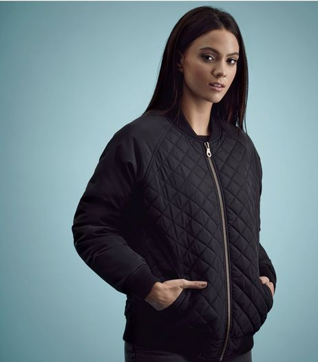 Black Quilted Panel Bomber Jacket  | New Look