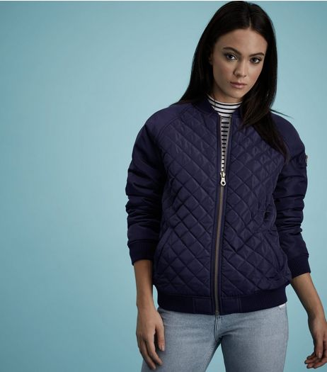 Navy Quilted Panel Bomber Jacket  | New Look