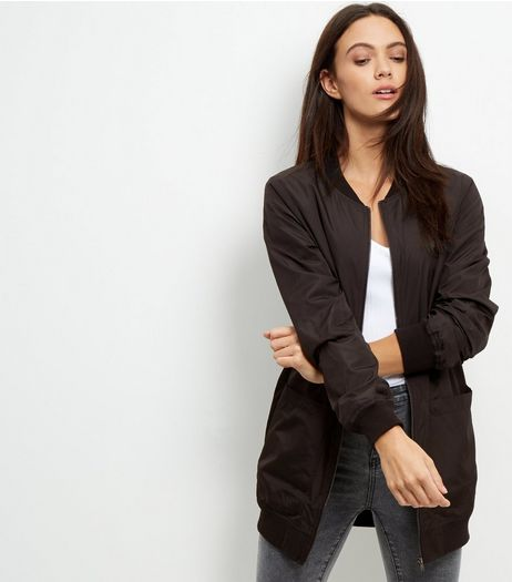 JDY Black Longline Bomber Jacket | New Look