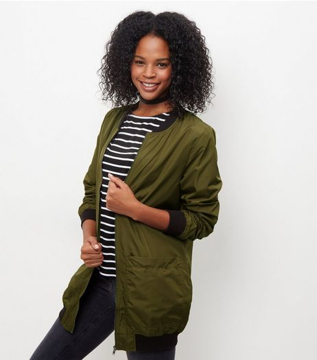 JDY Olive Green Longline Bomber Jacket | New Look