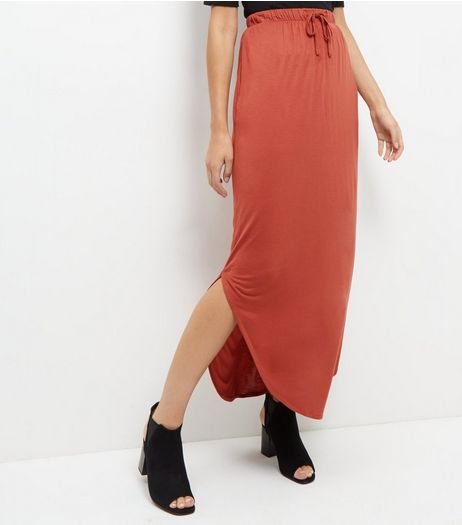 JDY Rust Split Side Maxi Skirt  | New Look