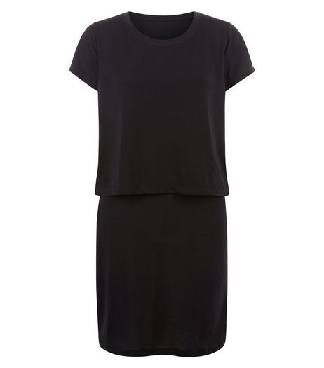 JDY Black Layered Short Sleeve Dress | New Look