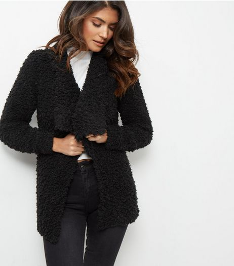 JDY Black Faux Fur Waterfall Cardigan  | New Look