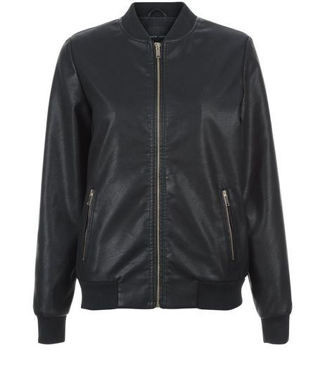Black Leather-Look Bomber Jacket  | New Look