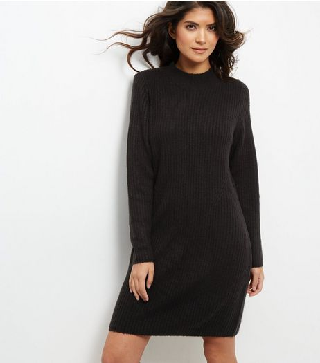 JDY Black Funnel Neck Dress | New Look