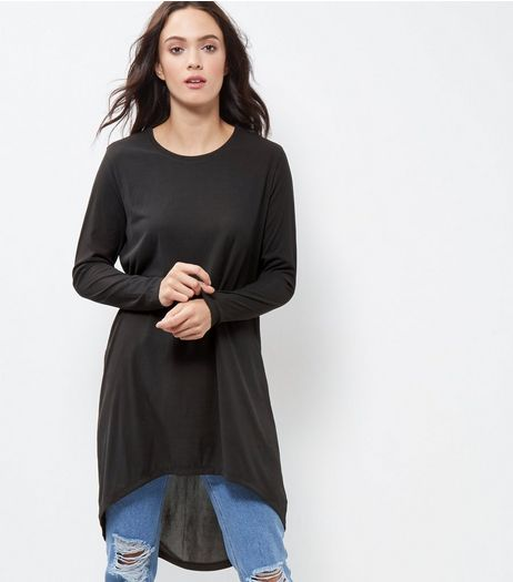 JDY Black Dip Hem Longline Top  | New Look