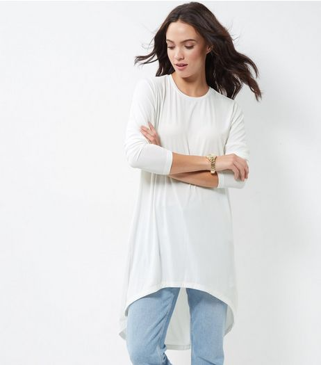 JDY White Dip Hem Longline Top  | New Look