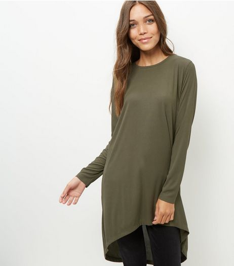JDY Olive Green Dip Hem Longline Top  | New Look