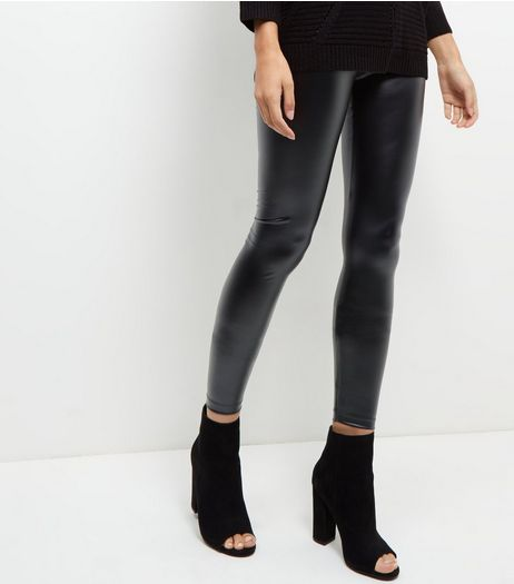 JDY Black Coated Leggings  | New Look