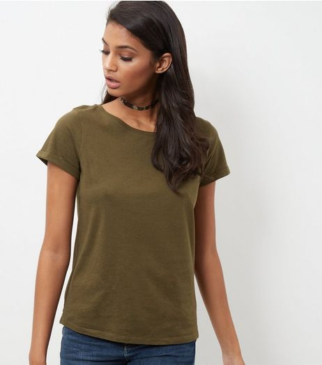 JDY Olive Short Sleeve Top  | New Look