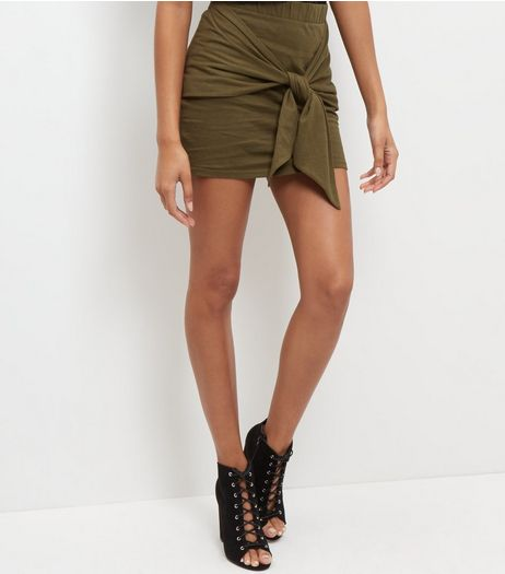 JDY Olive Green Tie Front Mini Skirt  | New Look