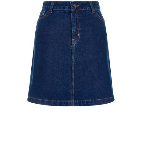 Dark Blue A-Line Denim Skirt | New Look