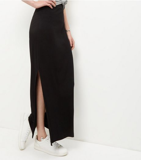 JDY Black Split Side Maxi Skirt | New Look