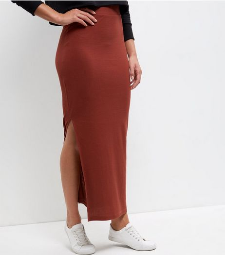 JDY Rust Ribbed Maxi Skirt | New Look