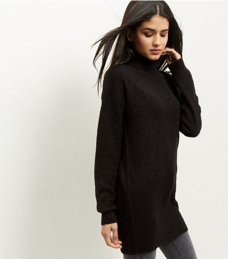 JDY Black Turtle Neck Longline Jumper  | New Look