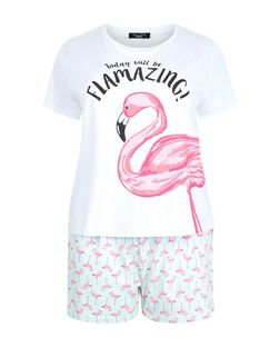 Curves Pink Flamingo Print Pyjama Set | New Look