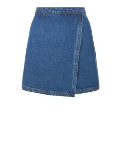 Blue Wrap Front Denim Skirt  | New Look