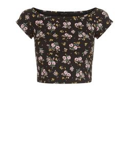 Black Ditsy Floral Print Bardot Neck Crop Top  | New Look