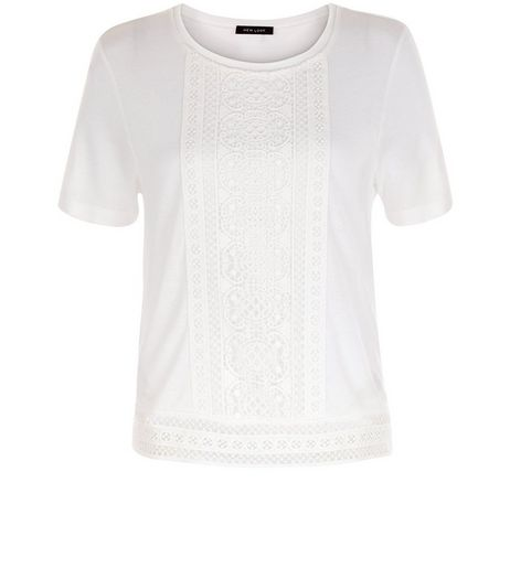 Cream Crochet Trim T-Shirt  | New Look