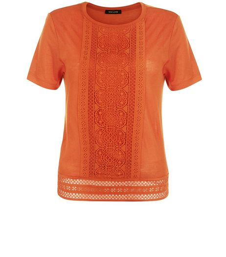Bright Orange Crochet Trim T-Shirt  | New Look