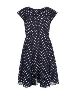 Blue Vanilla Navy Polka Dot Cap Sleeve Dress | New Look
