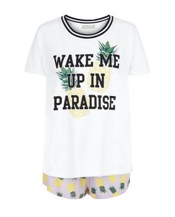 Petite Purple Pineapple Print Pyjama Set | New Look