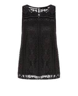 Black Lace Overlay Sleeveless Top  | New Look