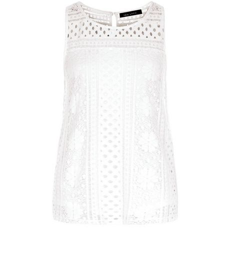 Cream Lace Overlay Sleeveless Top  | New Look