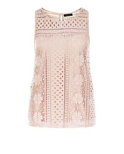 Mid Pink Lace Overlay Sleeveless Top  | New Look