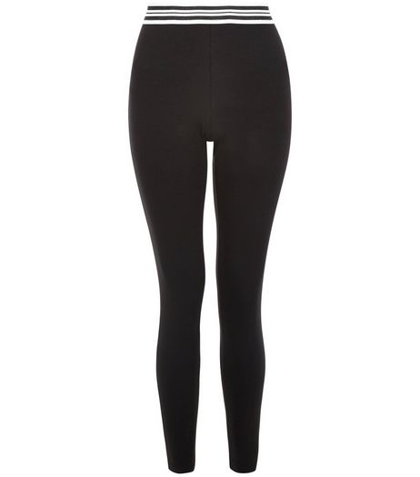 Black Stripe Elasticated Waist Leggings  | New Look