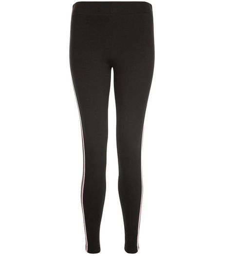 Black Elasticated Waist Stripe Trim Leggings  | New Look
