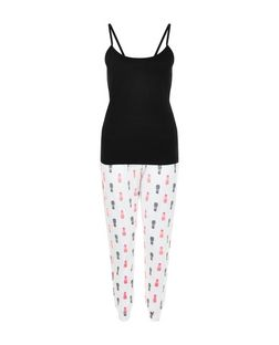 Petite Black Pineapple Print Pyjama Set | New Look