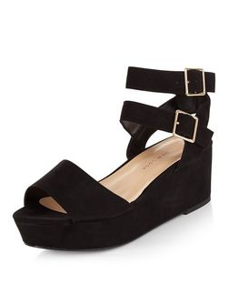 Teens Black Double Strap Flatform Sandals | New Look
