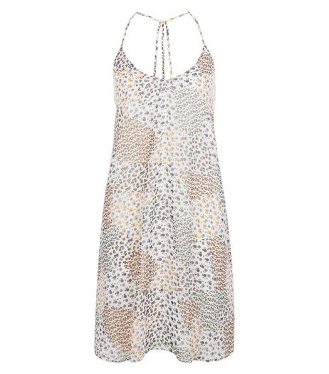 Cream Ditsy Floral Patchwork Print Slip Dress  | New Look