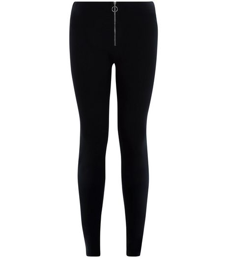 Black Zip Front High Waisted Leggings  | New Look