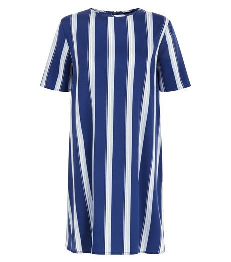 Blue Stripe Swing Dress  | New Look