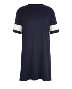 Navy Stripe Sleeve Sweater Dress | New Look