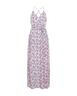 White Ditsy Floral Print Wrap Front Tie Waist Maxi Dress  | New Look