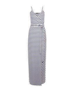 White Stripe Wrap Front Maxi Dress  | New Look