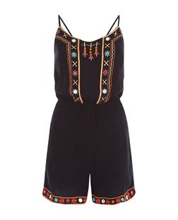 Black Embroidered Trim Playsuit  | New Look