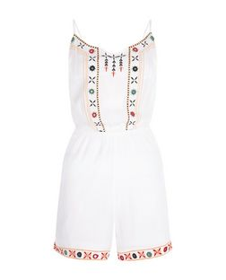 White Embroidered Trim Playsuit  | New Look