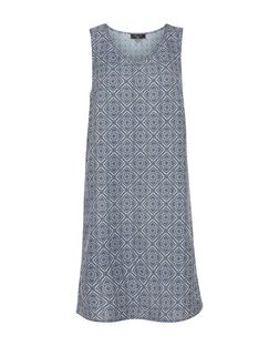 Tall Blue Tile Print Sleeveless Tunic Dress | New Look