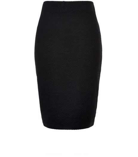 Petite Black Textured Pencil Skirt | New Look