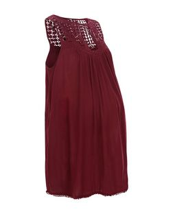 Maternity Burgundy Crochet Panel Sleeveless Top | New Look