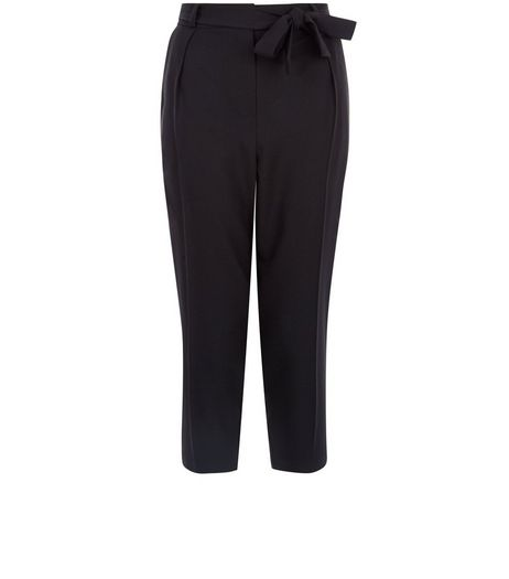 Petite Black Belted Crop Trousers  | New Look