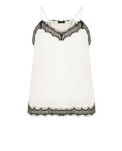 Petite Cream Lace Trim Sateen Cami  | New Look