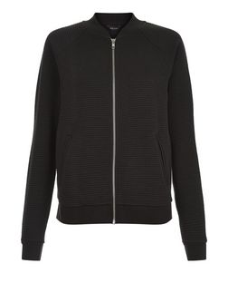 Black Ribbed Baseball Jacket  | New Look