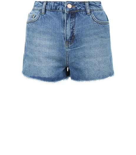 Petite Pale Blue Fray Hem Denim Shorts | New Look
